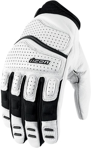 Icon Super Duty 2 Leather Motorcycle Gloves - White