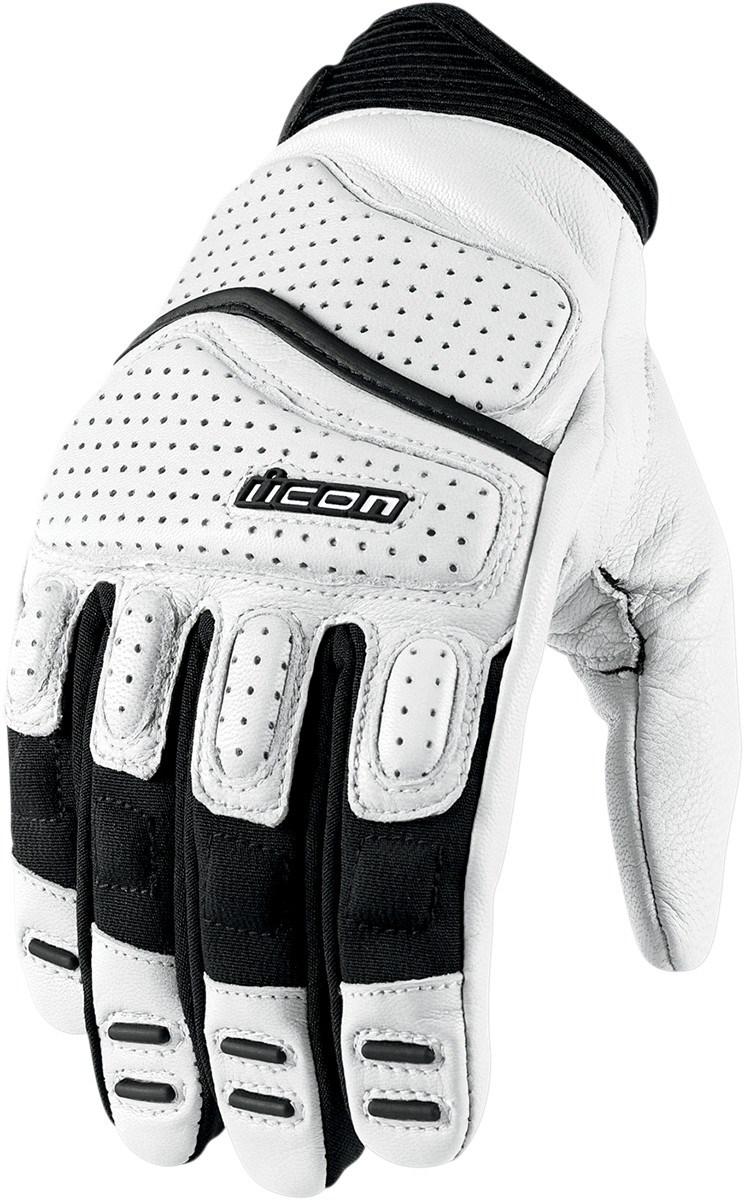 Icon Super Duty 2 Leather Motorcycle Gloves White
