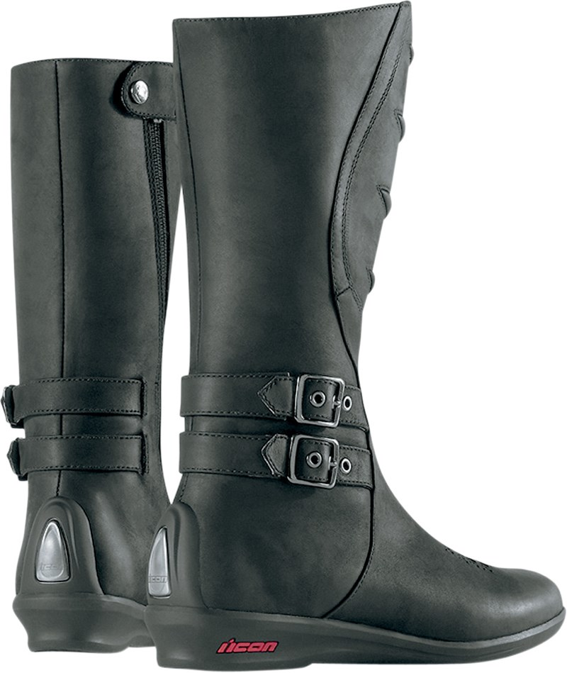 Icon Women's Sacred Tall Motorcycle Boot - Black