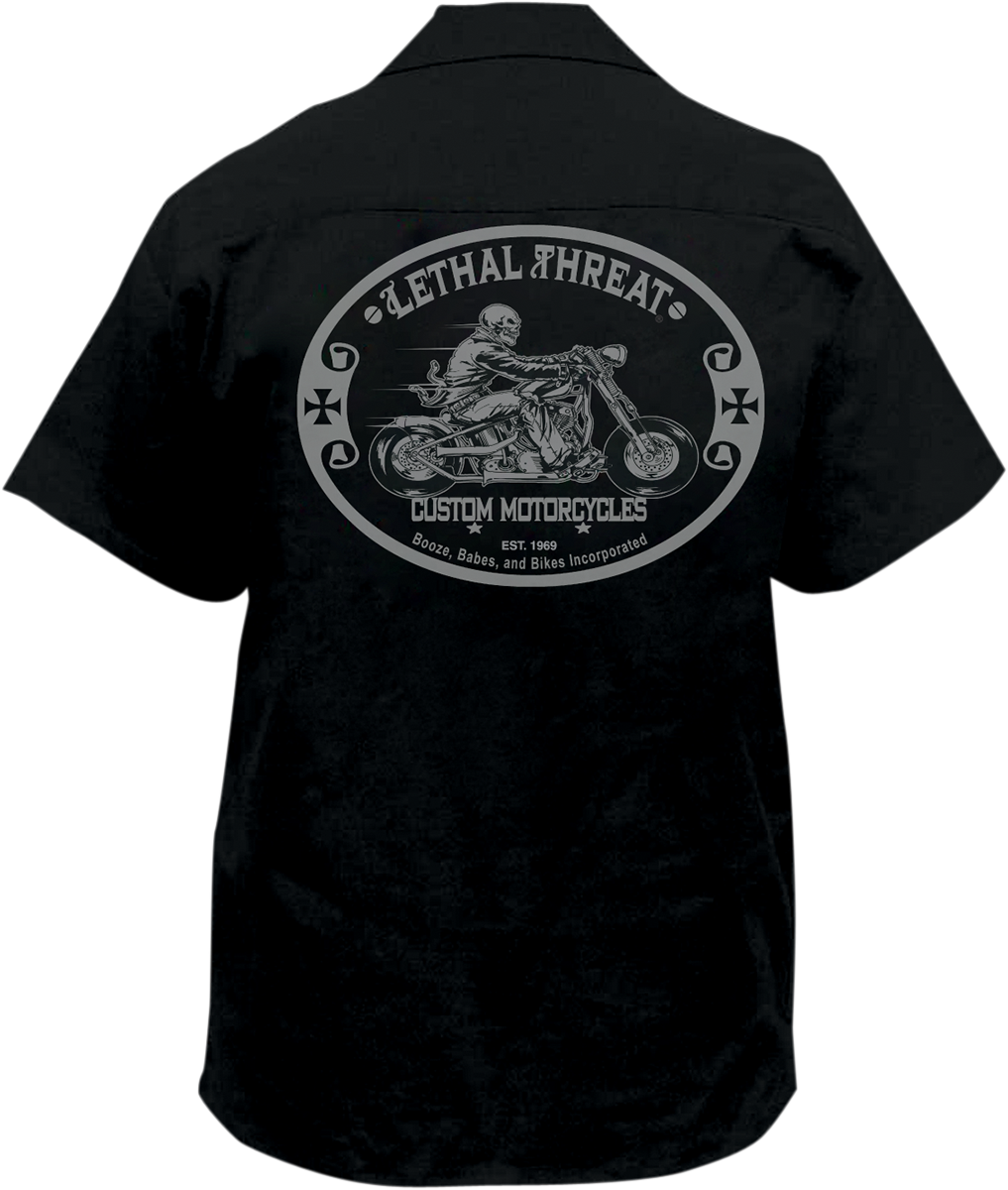 Lethal Threat Custom Motorcycle Embroidered Work Shirt