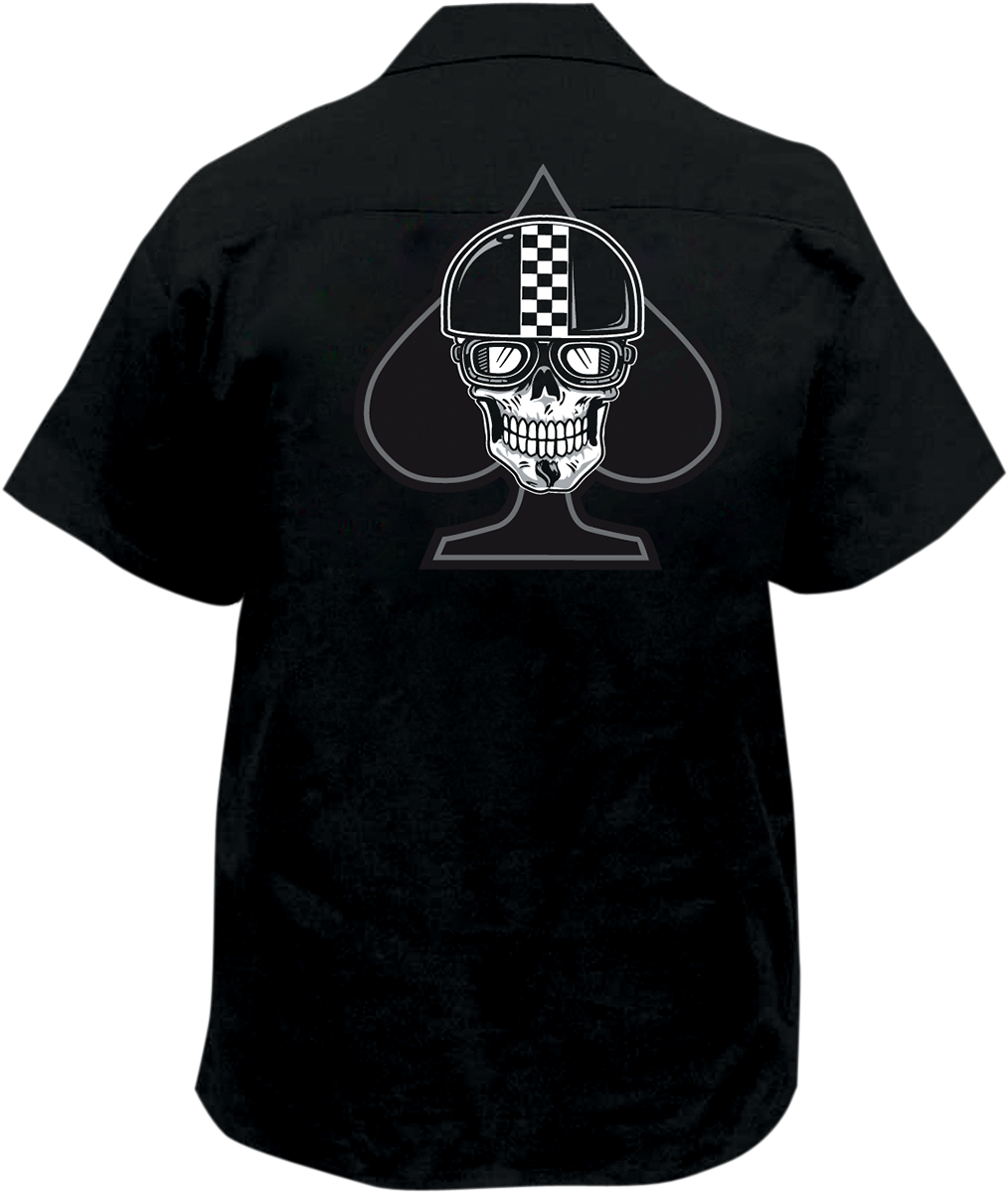 Lethal threat spade embroidered biker work shirt for Embroidered work shirts online