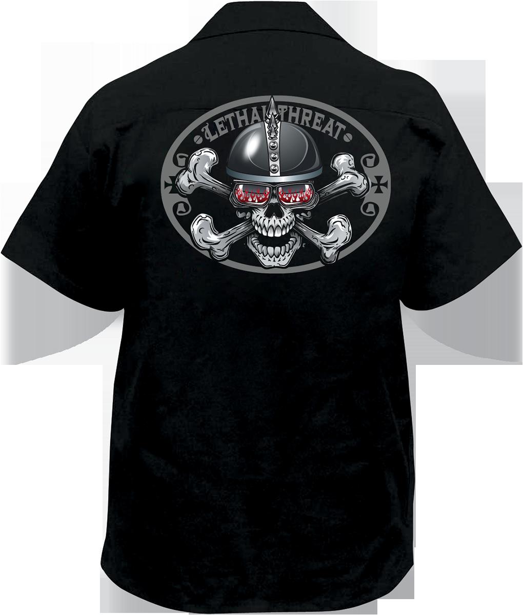Lethal threat spiked helmet skull embroidered biker work shirt for Embroidered work shirts online