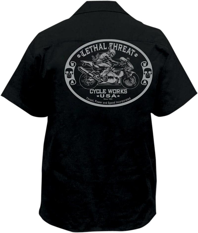 Lethal threat sportbike embroidered biker work shirt