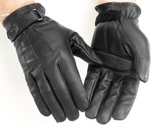River Road Laredo Leather Motorcycle Gloves - Black