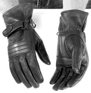 River Road Monterey Leather Motorcycle Gloves - Black
