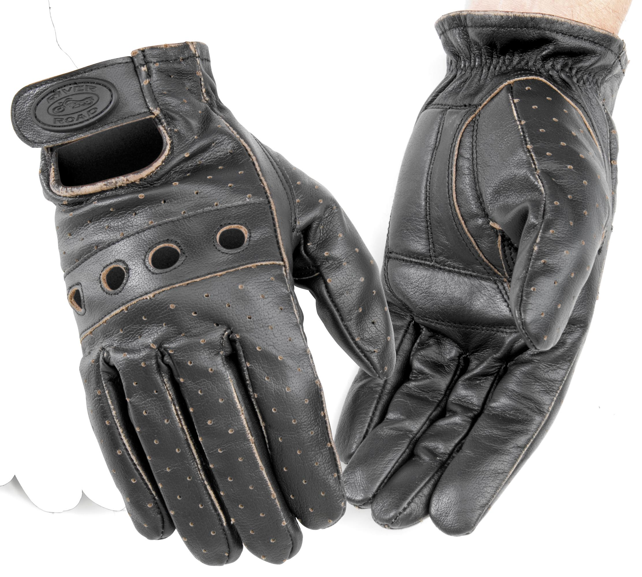 River Road Outlaw Vintage Men 39 S Leather Motorcycle Glove