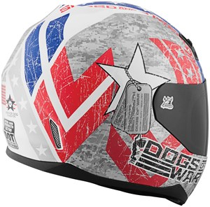 Speed & Strength SS700 Dogs of War Full Face Motorcycle Helmet - Red / White / Blue