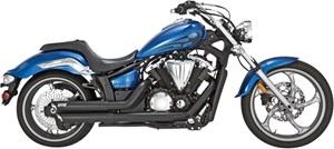 Vance & Hines Twin Slash Staggered Black Exhaust - Yamaha Stryker (11-13)