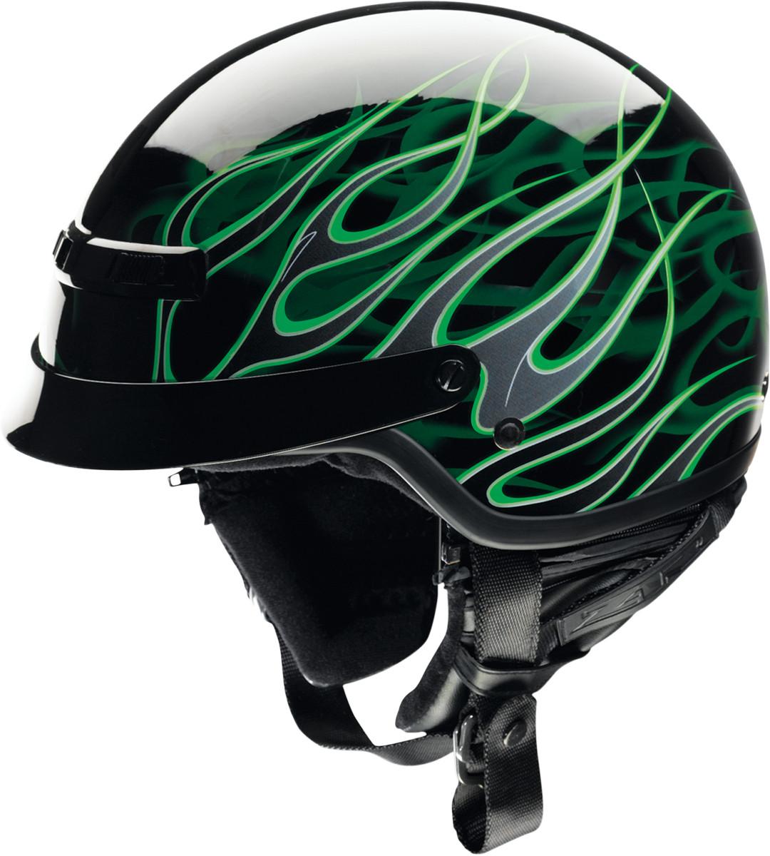 Z1r Nomad Hellfire Half Helmet Black Green