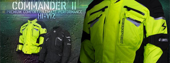 Buy Scorpion Commander II Hi-Viz Motorcycle Jackets at Biker Performance